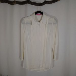 ALICE + OLIVIA ivory 3/4 sleeve button down blouse